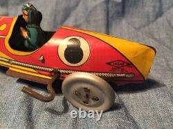 INGAP VOITURE DE COURSE N°8 BICOLORE ROUES PLEINES LHD 16 cm jouet ancien tole