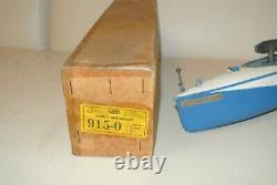 JEP ancien jouet mécanique en tôle canot bassin ruban bleu réf boite 915