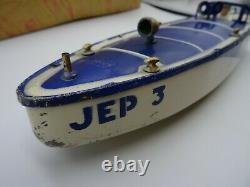 JOUET ANCIEN JEP Bateaux Canot mécanique de bassin en tôle JEP 3 avec boite