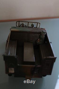 JOUET ANCIEN TÔLE Mécanique HAUSSER Camion KRUPP + CANON de 88 Années 40