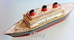 JOUET TÔLE Boite biscuit lithographiée LE NORMANDIE galettes Saint Michel 1935