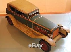 JOUET ancien TÔLE DISTLER Cabriolet Mécanique Long. 45 cm éclairage Années 1935