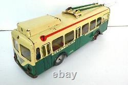 JOUSTRA TROLLEY-BUS GARE-MAIRIE REF 444 TÔLE LITHOGRAPHIÉE LG 40 cm 1955