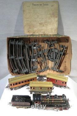 Jep Ancien Train Mecanique Wagons + Rails Jouet Locomotive J De P Paris