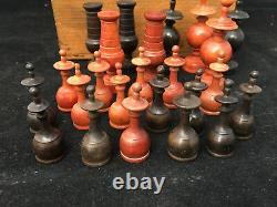 Jeu d'Echec Régence Fin XVIIIe Début XIXe En Bois Tourné Antique Chess Game