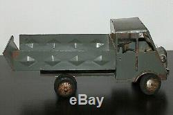 Jouet Ancien 1940 Camion Benne Renault Ahn Bemo En Tôle Old Truck Tin Toys 23 CM