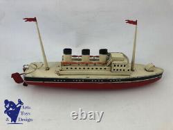 Jouet Ancien Bateau Jep 916/3 Paquebot Mecanique C. 1938 Boat Liner 40cm Tin Toy