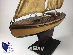 Jouet Ancien Bateau Voilier De Bassin Vogu'enmer Vg Vp 45 Serie Luxe L 45cm