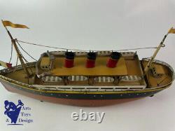 Jouet Ancien Bing Bateau Paquebot Liner Clockwork 33 CM Vers 1928