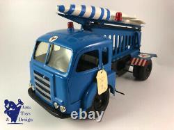Jouet Ancien Cij Europarc Ref 9/40 Rare Camion Saviem Lance Fusee Bleu Mecanique