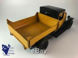 Jouet Ancien Citroen 1/10 Ref 555 Camion Tole C4 Benne Jaune 1930 Superbe Etat