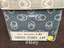Jouet Ancien Citroen Ref 61 Voiture Tole Mecanique Torpedo 5hp Jaune