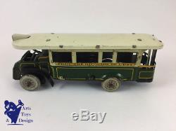 Jouet Ancien Cr 77 Autobus Tole Mecanique Renault Trocadero Gare De L'est C. 1930