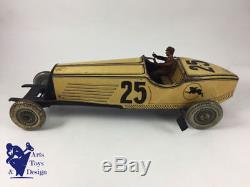 Jouet Ancien Cr Voiture Course Tole Mecanique Delahaye 25 C1930 38cm Tin Racer