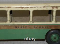 Jouet Ancien En Bois Peint Bus Autobus Parisien Passy Bourse Dejou Joujoulac +
