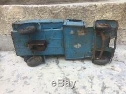 Jouet Ancien En Tôle Mécanique Cij Camion Plateau À Ridelles Renault Bleu 1934
