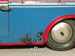 Jouet Ancien En Tole Mecanique De La Marque Joustra Trolley-bus Stade Avec Boite