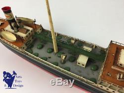 Jouet Ancien Fleischmann Bateau Tanker Esso Mecanique 50cm 1950 Tin Boat Wind Up