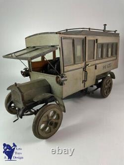 Jouet Ancien Francais Mecanique Bois Tole Camion Militaire Ww1 50cm Vers 1915