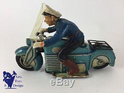 Jouet Ancien Gama 126 Moto Mecanique Wind Up Police Tin Motorcycle C. 1950 17 CM