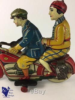 Jouet Ancien Gely Grande Moto Mecanique Clockwork Motorcycle C. 1920 22cm
