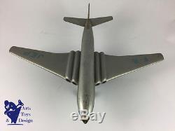 Jouet Ancien Jep Avion Comet Air France Gris Argent Mecanique Vers 1950