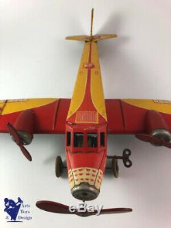 Jouet Ancien Jep Avion Tole Mecanique Le Diligent Air France F254 Vers 1935 51cm
