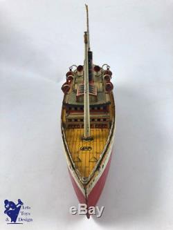 Jouet Ancien Jep Bateau Mecanique Paquebot Ile De France Vers 1930 Tin Liner