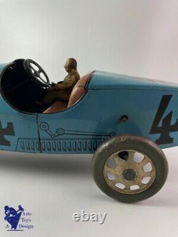 Jouet Ancien Jep Ref 7379 Rare Bugatti Grande Taille Bleue N°4 L. 43 CM Vers 1933