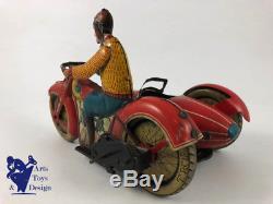 Jouet Ancien Jml Moto Side Car Mecanique Wind Up Tin Toy Motorcycle C. 1940 20 CM