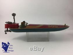Jouet Ancien Joustra 305 Bateau Hors Bord Mecanique 1936 40cm Coque Bleue