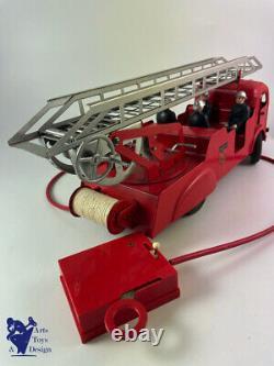 Jouet Ancien Jrd 406 Camion Pompiers Simca Auto Pompe Electrique Teleguide 43cm