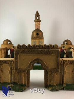 Jouet Ancien Jrd Figurines Tres Rare Medina Avec 4 Spahis Et 4 Touaregs 47x47cm
