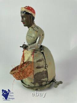 Jouet Ancien Mecanique Max Moschkowitz No Gunthermann Femme Avec Parapluie C1900