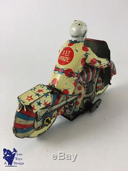 Jouet Ancien Mettoy Moto Mecanique Wind Up Clown Circus Tin Motorcycle C. 1950