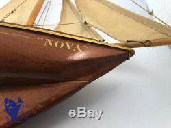 Jouet Ancien Rare Voilier Goelette Nova 2 Mats Coque Acajou 60cm Nain Bleu 1960
