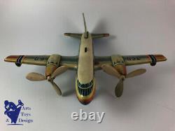 Jouet Ancien Tippco Tco 60 Avion Tole Mecanique World Airlines Vers 1955 37cm
