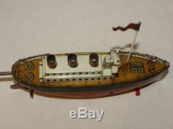 Jouet Ancien Tole Bateau Mecanique Vintage Tin Toy Boat Arnold Jep Bing Carette