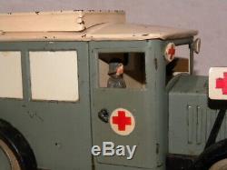 Jouet Ancien Tole Hausser Ambulance Militaire Vintage Tin Toy Elastolin Lineol