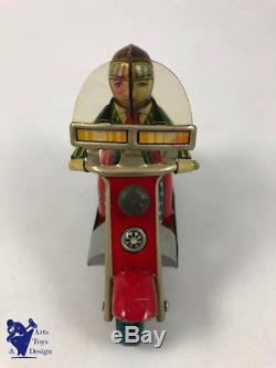 Jouet Ancien Tole Japan Marusan Baby Scooter Silver Pigeon Friction Tin Toy