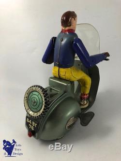 Jouet Ancien Tole La Hotte St Nicolas Tres Rare Scooter Vespa Avec Conducteur