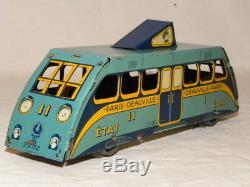 Jouet Ancien Tole Mecanique Rare Train Autorail Etat Paris-deauville Jep Cr ML