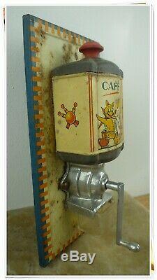 Jouet Enfant ancien moulin à café mural poupée en tôle dinette vers 1930