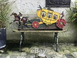 Jouet Forain Ancien Mobile En Tôle (tir A La Carabine) La Diligence De 1,12 M