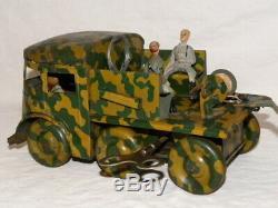 Jouet Tole Joustra Camion Militaire Mecanique Avec Remorque Telegraphiste Jep Cr