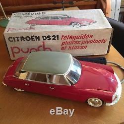 Jouet ancien Citroen DS 19 PAYA Spain 40 CM! TOLE & PLASTIQUE et Boite Punch 21