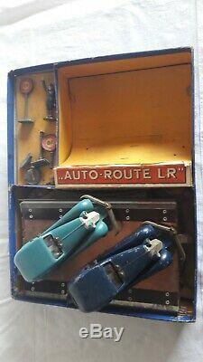 Jouet ancien LR Louis Roussy circuit auto-route salmson avec 2 voitures
