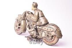 Jouet ancien. Moto militaire Saalheimer & Strauss, Allemagne 1935
