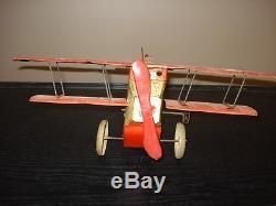 Jouet ancien avion mécanique tôle Le Point dInterrogation CR Charles Rossignol
