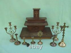 Jouet ancien rare autel d'église en bois + ses accessoires / messe piété